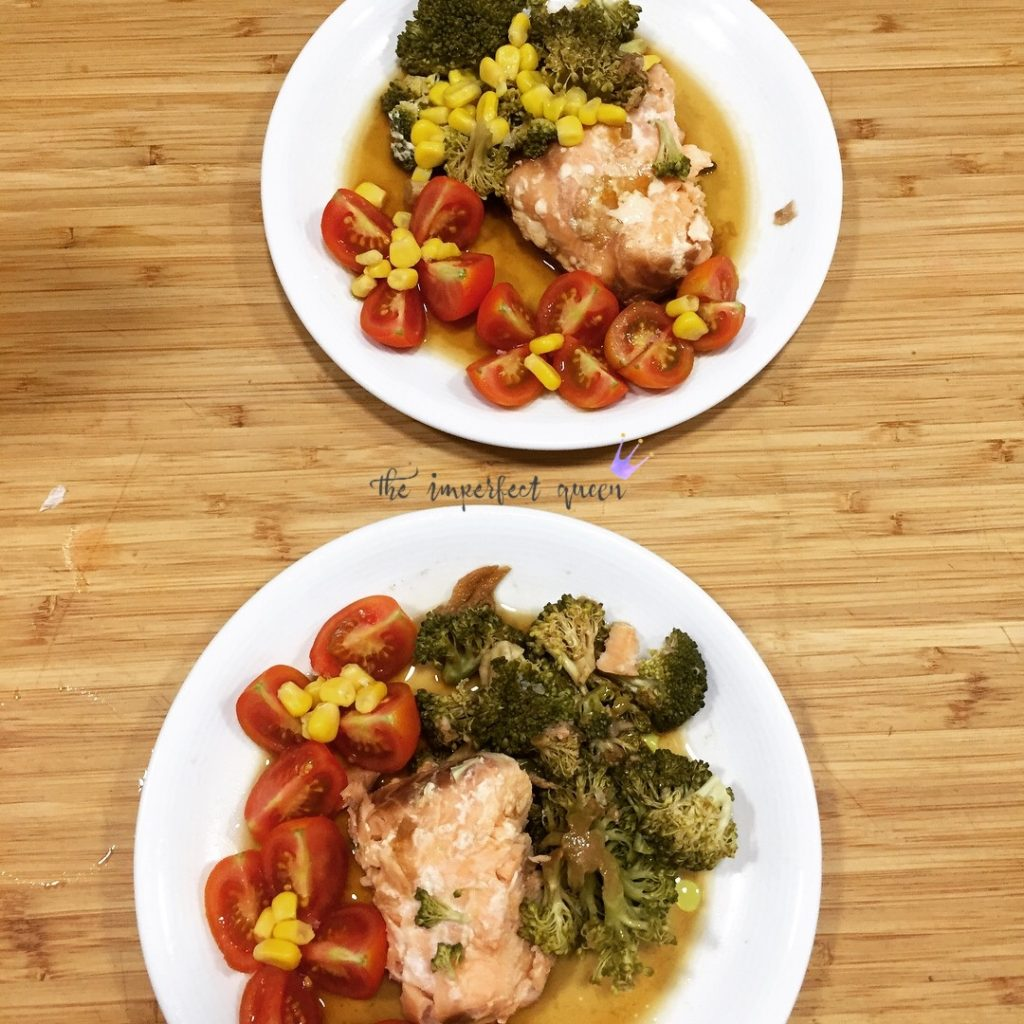 Salmon and brocolli slow cooker